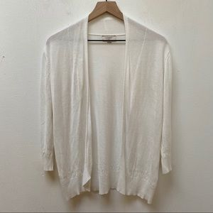 LOFT Outlet White Pointelle Open Front Cardigan